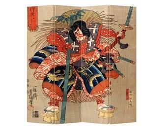 Room Divider Paravent Folding Screen Japanese Samurai Minamoto no Tametomo 4 Panel (180x160cm) Furniture Home Decor Printed Canvas Two-Sided