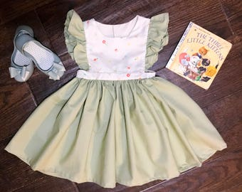 Easter Vintage Dress • Spring Pinafore Dress• Baby Spring Dress • Toddler Spring Dress• Pinafore Dress