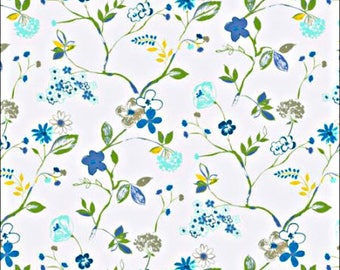 Printed Floral Sketch in Lagoon Blues Cotton Fabric by the Yard
