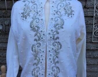 Vintage 1960's Beaded Cardigan * Macys * Size Medium