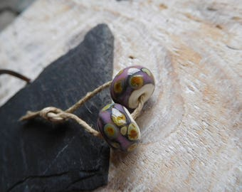 Tribal Lampwork handmade lampwork beads, Lampwork, ivory and pink, handmade beads.