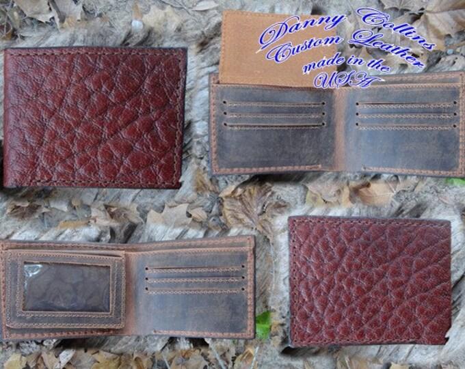 Shrunken Bull Hide wallet with ID, Bifold Wallet, Mens Wallet