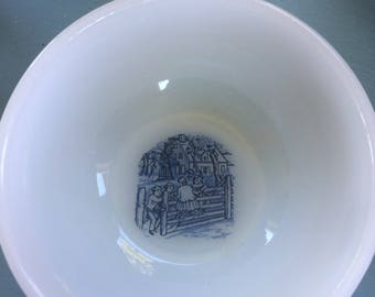 Vintage Milk Glass Bowl with Children, Blue and White