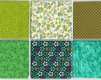 Pack tela algodón-gama verdes (25x25cm.)