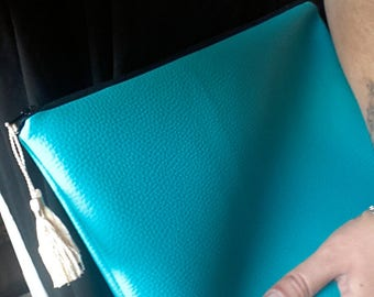 Faux turquoise leather evening bag