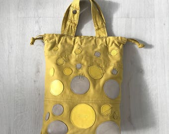 Repurposed mustard yellow cotton tote bag, upcycled trouser tote bag