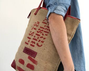 Recycled coffee bean bag tote bag with red leather