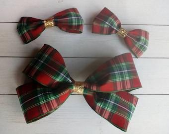 Christmas Hair Bow Clips | Hair Clip | Hair Bow | Hair Bows | Hair Clips | Holiday Hair Bow Clips | Christmas | Red & Green Plaid Hair Bows