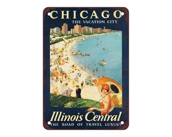 "Chicago via Illinois Central Railroad - Vintage Look Reproduction 9"" X 12"" Metal Sign"