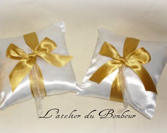 White Duchess satin ring bearer pillow and her bow gold