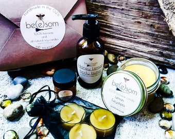 Gift set of 100% beewax candles and Handmade Whipped Body Butter.
