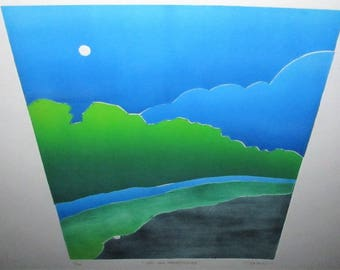 Vintage Modernist Abstract Cubist Screenprint Landscape Print Lithograph Signed O'Brien 541 By Moonlight
