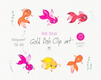 Goldfish Watercolor Clip art, Fish, Watercolour, goldfish girl, Clip art, Hand Painted Watercolor Clip art collection