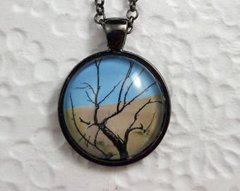 Desert Tree Necklace with Round Glass Cabochon Tree Necklace Tree Jewelry Nature Jewelry Photo Jewelry Photo Necklace