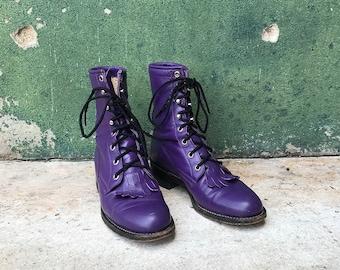 Vintage Purple Leather Lace Up Leather Kiltie Boots | 5 B | 5.5 | 6