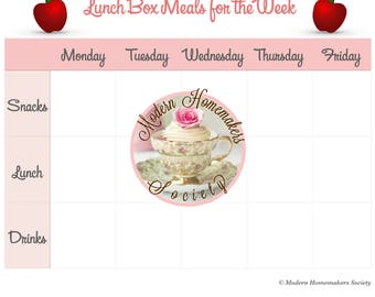 The Lunch Box Meal Planner, Planner, Menu, Meal Tracker, Menu Planner, Lunch Planner, Weekly Planner, Calendar, US Letter