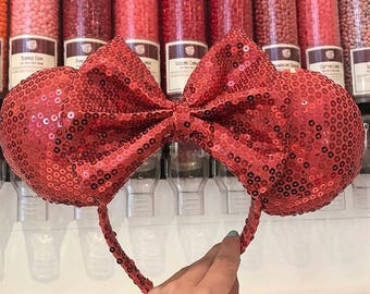 Coral Minnie Mouse Ears