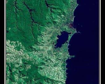 Wollongong New South Wales Australia Satellite Poster Map