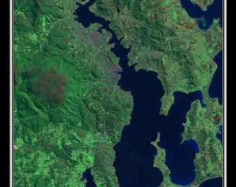 Hobart Tasmania Australia Satellite Poster Map