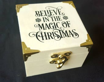"Polar Express Brass Jingle Bell ""Believe in the magic of Christmas"" with Wooden Box - Christmas Eve Box Christmas eve Magic Reindeer Bell"