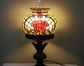 Stained Glass Lamp - Oil Lamp Style - Hurricane Lamp Style