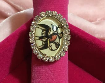 Vintage Tattoo Swallow Handmade Picture Ring