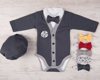 Baby Boy Clothes, MONOGRAM Baby Boy Graphite Gray Cardigan, Bodysuit, Hat & Bow Tie Set, Baby Boy Outfit, Coming Home Outfit, Baby Boy Gift