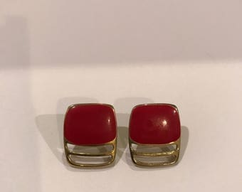 Vintage Jewelry- Vintage 1980s Red and Gold Square Rectangle Earrings