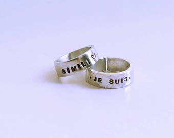 Unisex aluminum ring with custom engraving/vegan jewelry