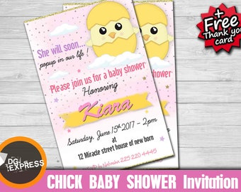 "Chick baby shower Invitation - ""CHICK INVITATION"" Digital Chick baby shower Invite - Chick Birthday Printable, baby shower Invite"