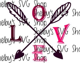 Crossed Arrow Love - SVG