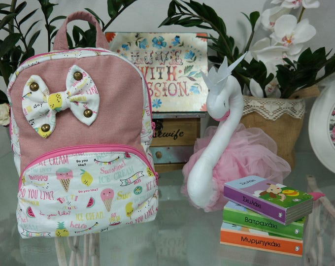Baby School Pink Canvas Ice Cream Backpack