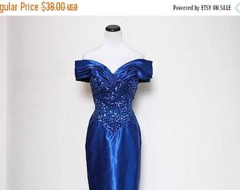 30% OFF VTG 80s Blue Sequin Off The Shoulder Prom Floor Length Gown S