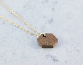 Hexagon shaped necklace made of sapele wood,