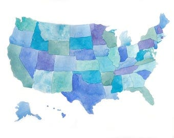United States Map Wall Art Usa Map Print United States Map - Watercolor us map