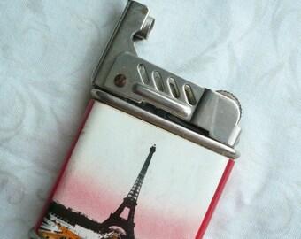 Vintage FEUDOR CIGARETTE LIGHTER,  Souvenir Paris, Vintage Souvenir Eiffel Tower, French Vintage Petrol Lighter.