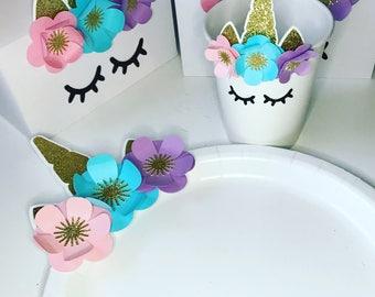 Unicorn Tableware, Unicorn Cup, Unicorn Plate, Unicorn Party, Unicorn Decorations