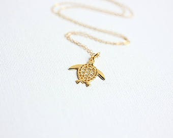 Gold Vermeil Turtle Necklace - Turtle necklace - Gold Turtle Pendant - Turtle Jewelry - Sea Turtle Necklace - Gift for her