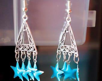 Drop earring pendants silver and blue stars