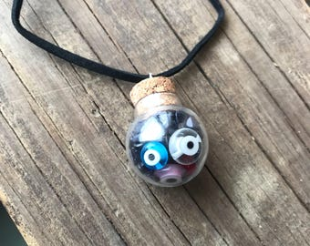 Evil eye necklace, Protection jewelry, Blue goldstone, Copper, Crystal healing