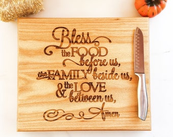 Bless the Food Before Us, Cutting Board, Thanksgiving Table Decor, Large Cutting Board, Thanksgiving Decor, Fall Decor, Kitchen Decor
