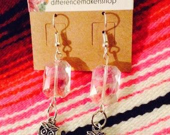 Crystal and owl earrings