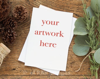 Mockup for Greeting Card  | Vertical | 5x7 Size Note Card Winter Theme | Styled Stock Photography | Instant Download