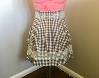 Cute gingham cotton half apron embroidered brown and white checkered.