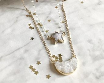 STARLIGHT - Ras Halskette, lange Halskette - Kette lange Kette - Halskette Stein, Edelsteine, Quarz konkaver - Kristall - Winter - Gold - Mond, Sterne