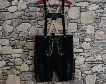 Bavarian lederhosen - black suede short pants and suspenders, white embroidery, silver buckles, medium size, vintage folk German fashion