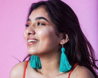 Turquoise Tassel Earrings Handmade Earrings bohemian tassel earrings Statement Earrings Colorful Earrings