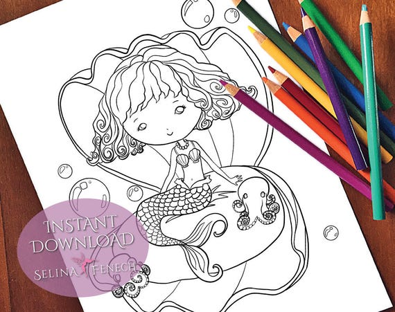 Mermaid In Clam Shell Coloring Page/Digi Stamp Fantasy