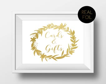 SALE! Cards and Gifts, Foiled Wedding Prints, Gold Foil Wedding, Wedding Signs, Gold Wedding Sign, Foil Wedding, Gold Sign, Real Foil Sign