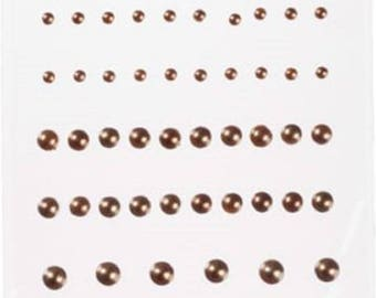 Adhesive Flatback Pearls Flat Back, Acid Free, Brown, Assorted Sizes